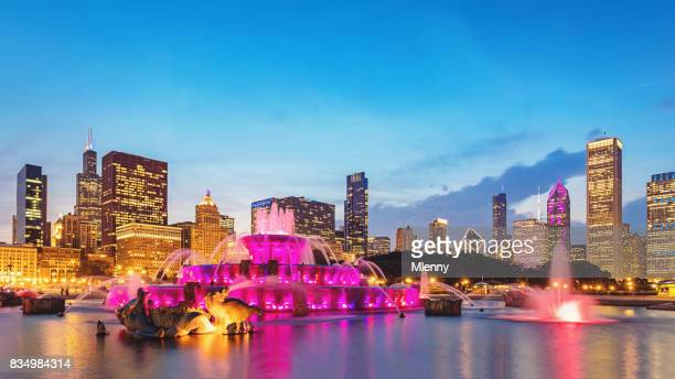 Buckingham Fountain Grant Park Chicago and Skyline Panorama