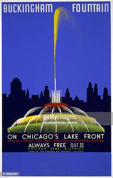 Buckingham Fountain on Chicago's lake front world's largest and most beautiful illuminated fountain Poster showing fountain and Chicago skyline