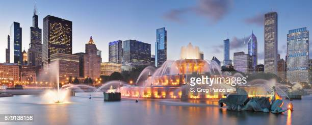 buckingham fountain + skyline at night - chicago - chicago stock pictures, royalty-free photos & images