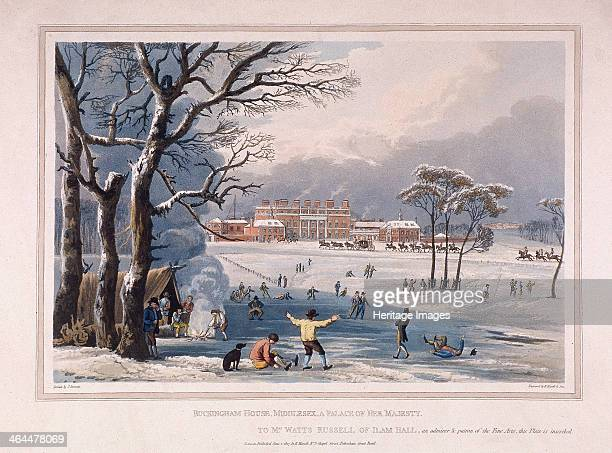 Buckingham House and St James's Park in the winter London 1817 Snowy scene with people skating on a frozen lake A tent has been erected and a group...