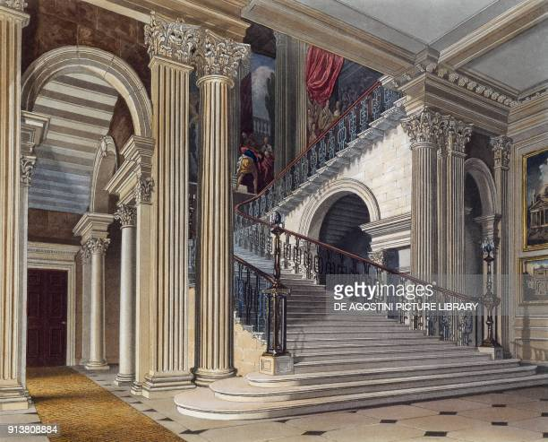 Buckingham House's grand staircase engraving by W J Bennet on a Bill C Wild's drawing taken from History Of Royal Residences of Windsor Castle St...