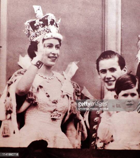 Buckingham Palace balcony, Coronation day 1953. The Queen and Prince Charles.