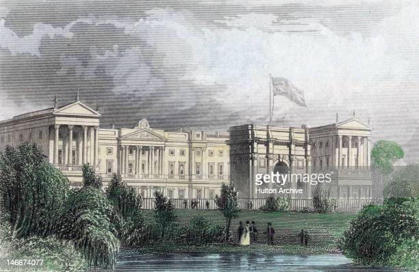 Buckingham Palace before the addition of Edward Blore's east front and with Marble Arch in its original location London 1840