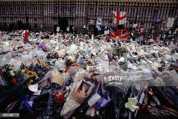 Buckingham Palace flowers laid for Diana Princess of Wales Floral tributes and messages left against the railings of Buckingham Palace in memory of...