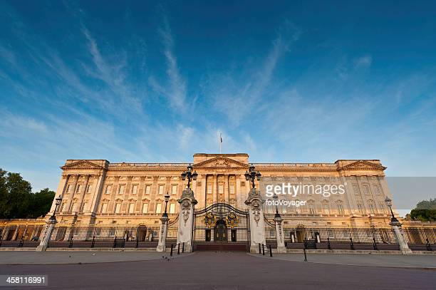 buckingham palace golden sunrise big blue sky london - the mall westminster stock photos and pictures