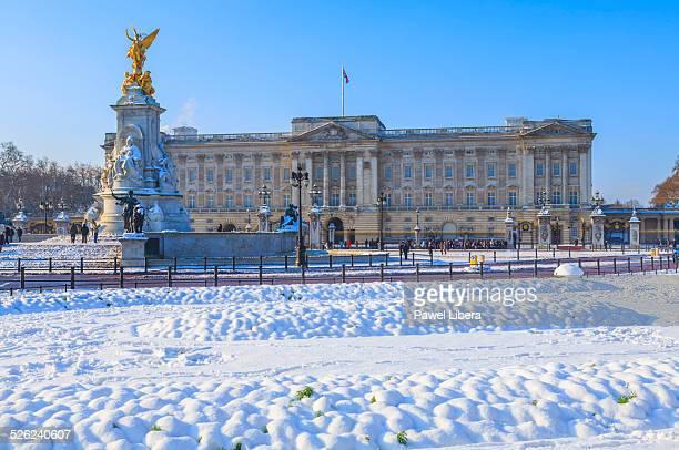 Buckingham Palace in winter.
