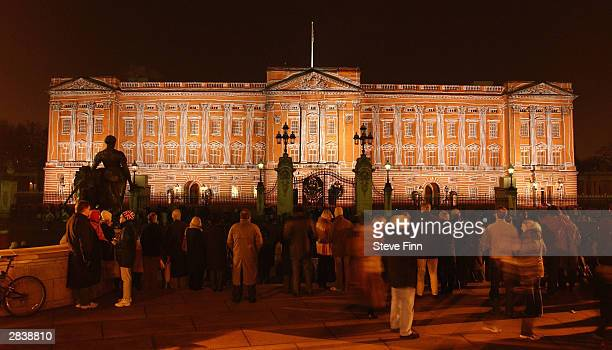 Buckingham Palace is lit up with artwork as part of a number of switchon ceremonies leading up to Christmas and New Year on December 31 2003 in London