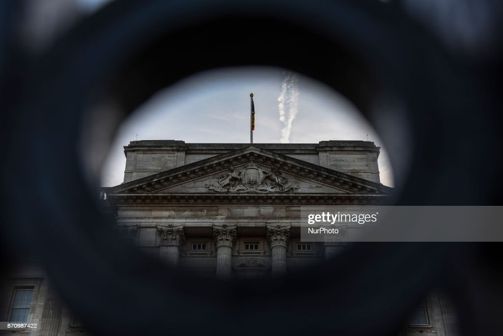 Buckingham Palace is pictured as the sun sets, London on November 6, 2017. About £10m of the Queen's private money was invested offshore, leaked documents show. The Duchy of Lancaster, which provides the Queen with an income, held funds in the Cayman Islands and Bermuda.
