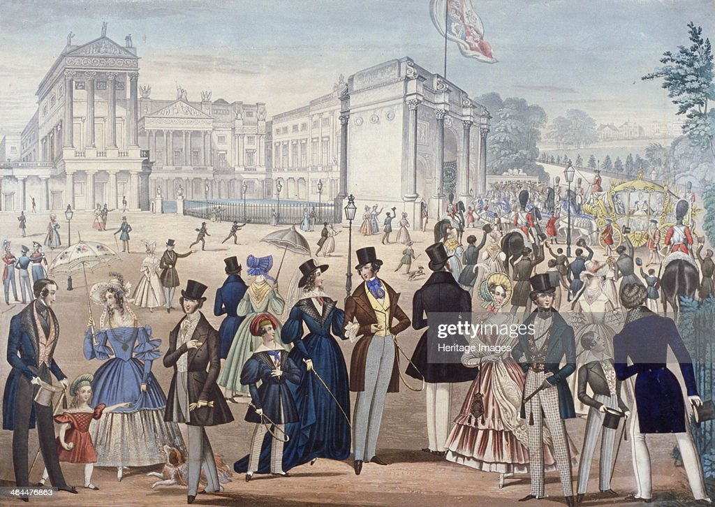 Buckingham Palace, London, 1839. View showing Queen Victoria returning from the House of Lords in the right hand middle distance, the front of Buckingham Palace, and the Marble Arch in its original position. In the foreground a range of fashionably dressed men, women and children can be seen.
