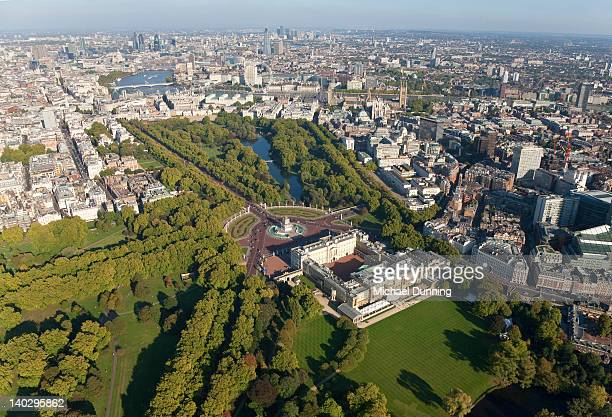 buckingham palace, london , aerial - buckingham palace stock pictures, royalty-free photos & images