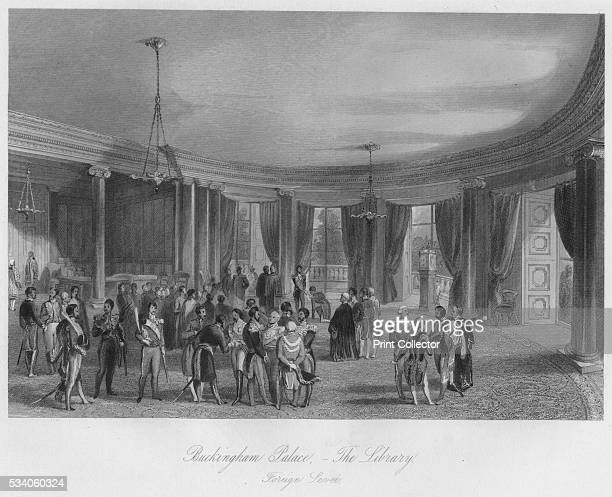 Buckingham Palace The Library Foreign LeveÚ' from 'London Interiors with their Costumes Ceremonies from Drawings made by permission of the Public...