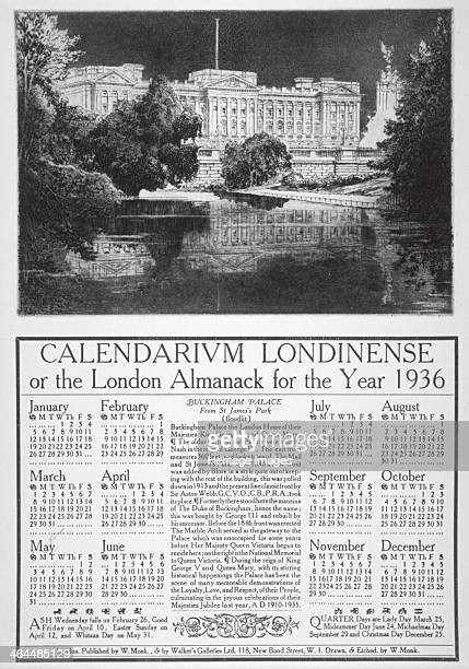 Buckingham Palace Westminster London 1935 Calendarium Londinense or the London Almanack for 1936 surmounted by a view of Buckingham Palace from St...