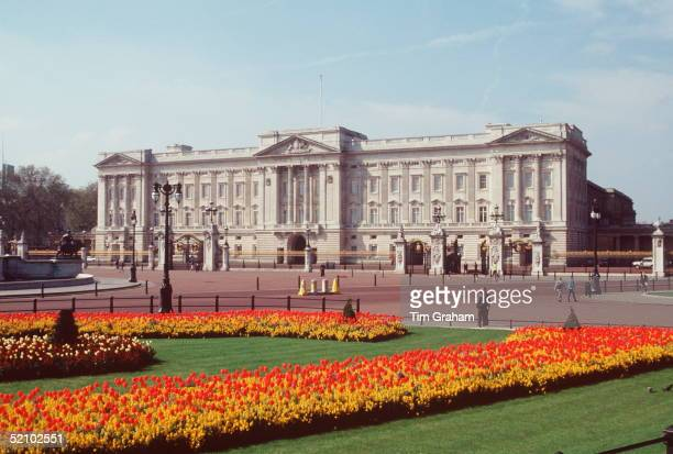 Buckingham Palace With Spring Flowers Tulips In The Foregroundcirca 1990s