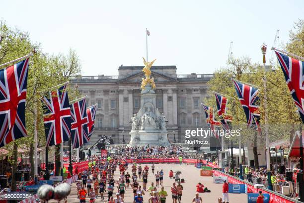 Buckingham Palce by the finish line during the 2018 London Marathon in central London on April 22 2018