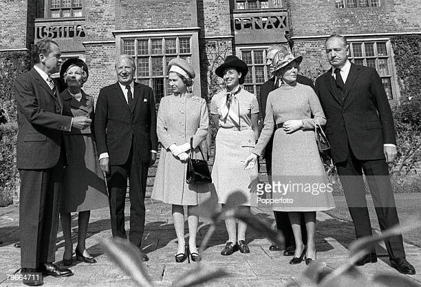 Buckinghamshire, England, 3rd October President of the United States Richard Nixon and his wife Pat with British Prime Minister Edward Heath, Queen...