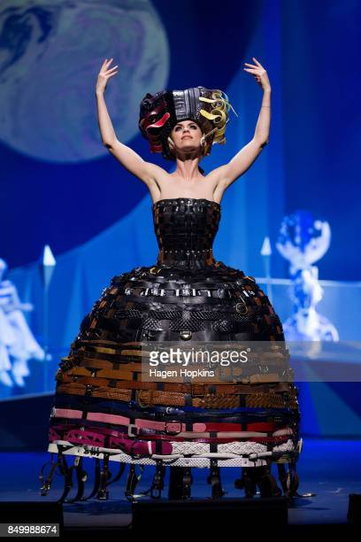 '222 Buckle Belts' by Annina Gull of Switzerland is modelled in the Open Section during the World of WearableArt Preview 2017 at TSB Bank Arena on...