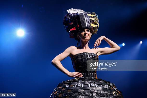 '222 Buckle Belts' by Annina Gull of Switzerland is modelled in the Open Section during the World of WearableArt Awards 2017 at TSB Bank Arena on...