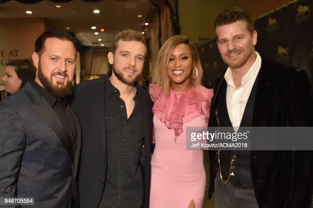 AJ Buckley Max Thieriot Eve and David Boreanaz attend the 53rd Academy of Country Music Awards at MGM Grand Garden Arena on April 15 2018 in Las...