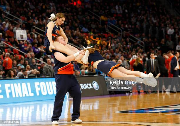 Bucknell Bison cheerleaders during the NCAA Division I Men's Basketball Championship First Round game between the Michigan State Spartans and the...
