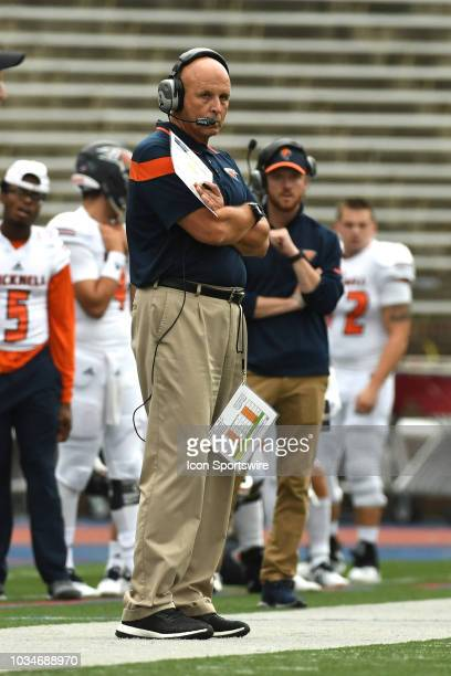 Bucknell Bison head coach Joe Susan looks on during the game between the Bucknell Bison and the Penn Quakers on September 15, 2018 at Franklin Field...