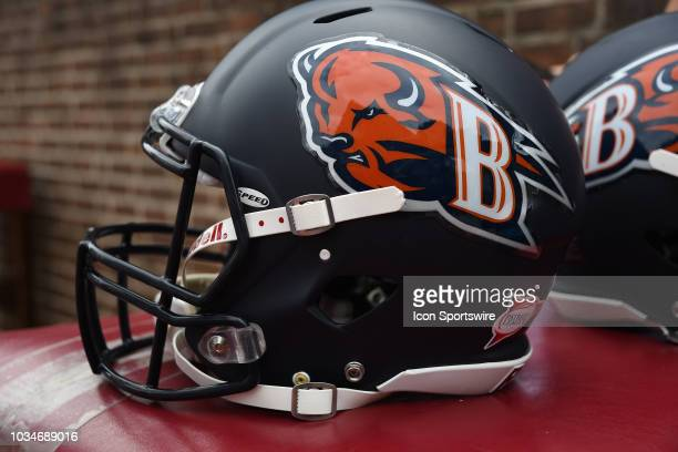 Bucknell Bison helmet sits on a table during the game between the Bucknell Bison and the Penn Quakers on September 15, 2018 at Franklin Field in...