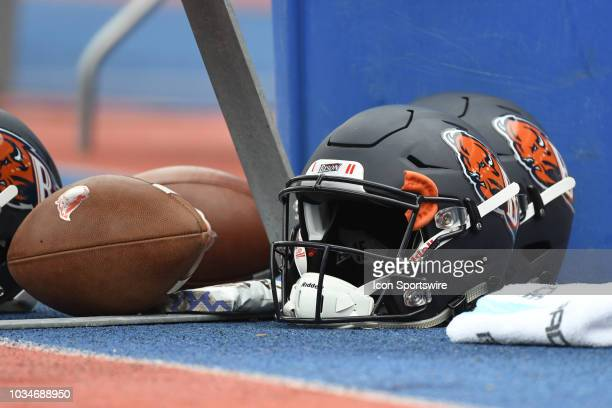 Bucknell Bison helmets and footballs sit under the bench during the game between the Bucknell Bison and the Penn Quakers on September 15, 2018 at...
