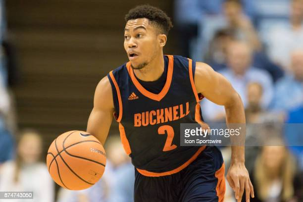 Bucknell Bisons guard Stephen Brown brings the ball up the court against the North Carolina Tar Heels during the first half at the Dean Smith Center...