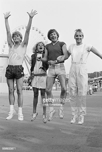 Bucks Fizz group portrait Dreamland Amusement Park Margate United Kingdom 1982 LR Mike Nolan Jay Aston Bobby Gee Cheryl Baker