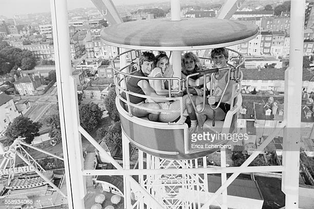 Bucks Fizz group portrait Dreamland Amusement Park Margate United Kingdom 1982 LR Bobby Gee Cheryl Baker Jay Aston Mike Nolan