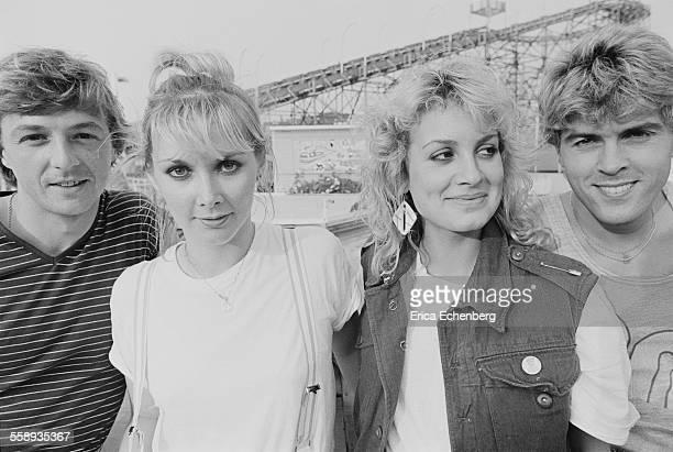 Bucks Fizz group portrait Dreamland Amusement Park Margate United Kingdom 1982 LR Bobby Gee Cheryl Baker Jay Aston Mike Nolan
