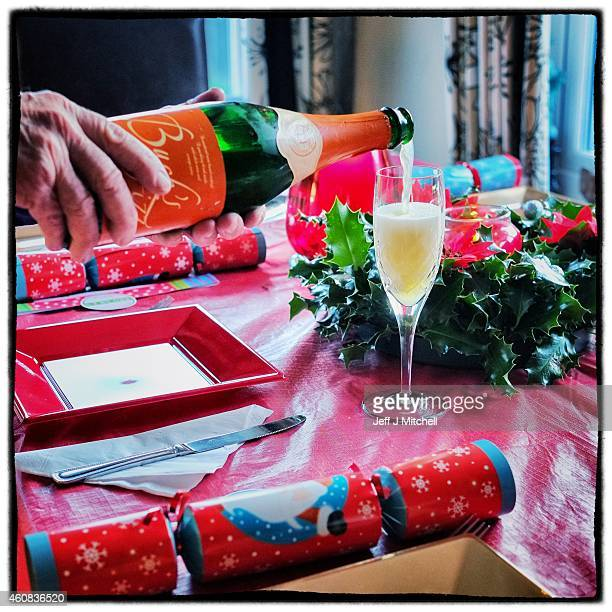 Bucks fizz is poured into a glass on Christmas morning on December 25 2014 in Glasgow Scotland Millions of people across the UK spend time with...