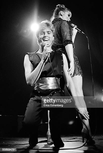 Bucks Fizz perform on stage at the Winter Gardens Margate United Kingdom 1982 LR Mike Nolan Cheryl Baker