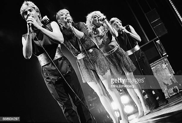 Bucks Fizz perform on stage at the Winter Gardens Margate United Kingdom 1982 LR Mike Nolan Cheryl Baker Jay Aston Bobby Gee