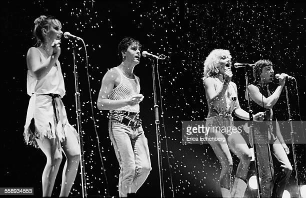 Bucks Fizz perform on stage at the Winter Gardens Margate United Kingdom 1982 LR Cheryl Baker Mike Nolan Jay Aston Bobby Gee