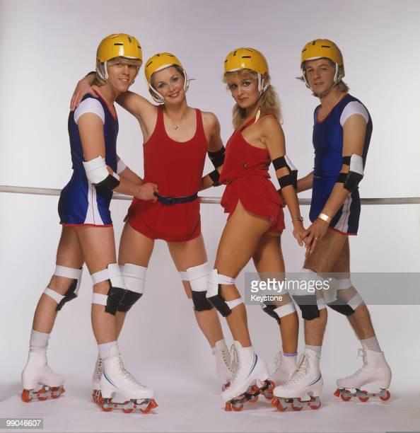 Bucks Fizz pop group pictured wearing roller blades circa 1981