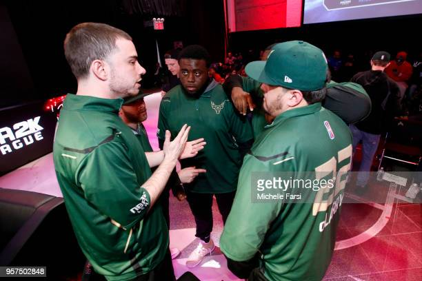 Bucks Gaming huddles up during the game against 76ers Gaming Club on May 11 2018 at the NBA 2K League Studio Powered by Intel in Long Island City New...