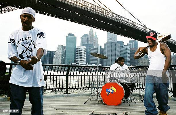 Buckshot DJ Evil Dee and 5 Ft of Black Moon during Black Moon's Video Shoot for Stay Real Single at Fulton Ferry State Park in Brooklyn New York...