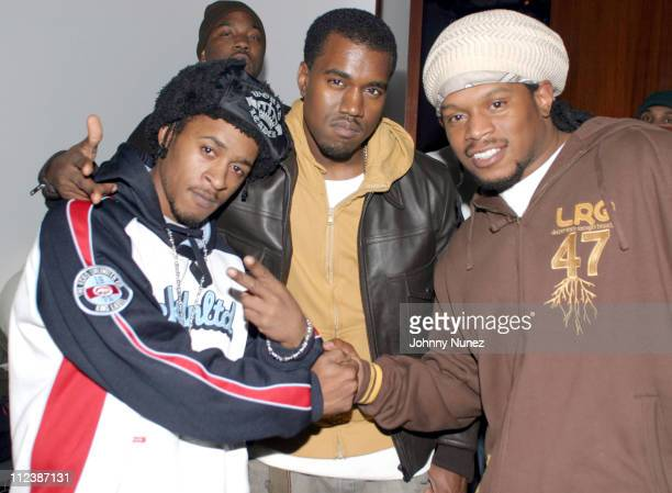 Buckshot Kanye West and Sway of MTV during The Fader Pop Life Issue Release Party at Diane Von Furstenberg Studio in New York City New York United...