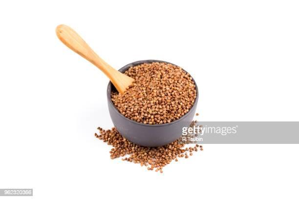 Buckwheat groats in a bowl, close up photo