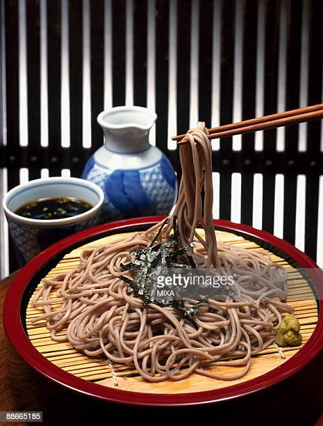 buckwheat noodles - wasabi sauce stock pictures, royalty-free photos & images
