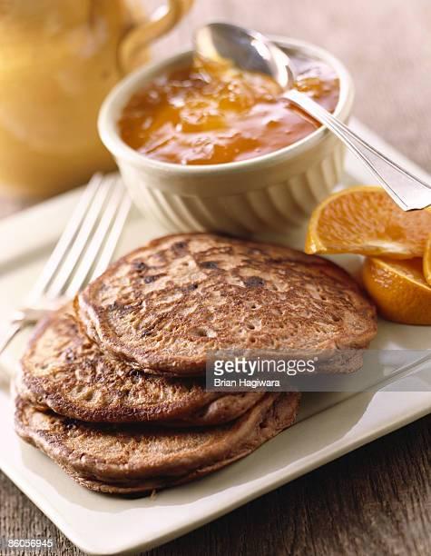 Buckwheat pancakes with marmalade