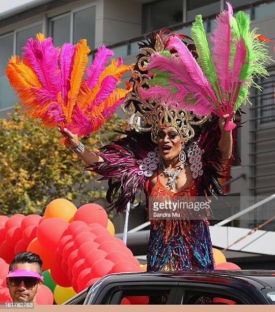 Buckwheat participates in the parade down Ponsonby Road during the Pride parade on February 16 2013 in Auckland New Zealand The gay parade...