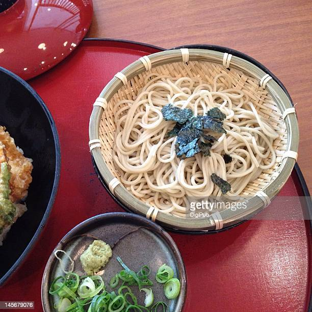 buckwheat soba japanese noodles on table - wasabi sauce stock pictures, royalty-free photos & images
