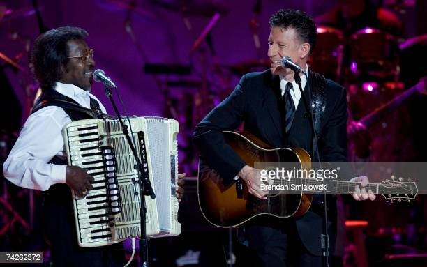 Buckwheat Zydeco and Lyle Lovett perform during the Library Of Congress Gershwin Prize For Popular Song Gala at the Warner Theater May 23 2007 in...