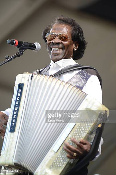 Buckwheat Zydeco performs on stage at the New Orleans Jazz and Heritage Festival on April 22, 2016 in New Orleans, Louisiana.