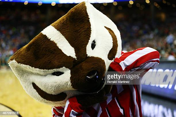 Bucky Badger mascot for the Wisconsin Badgers performs in the first half against the Coastal Carolina Chanticleers during the second round of the...