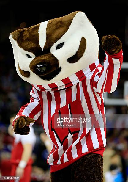 Bucky Badger mascot of the Wisconsin Badgers performs in the first half against the Ole Miss Rebels during the second round of the 2013 NCAA Men's...