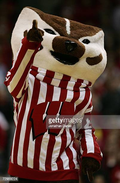 Bucky Badger mascot of the Wisconsin Badgers supports his team against the Ohio State Buckeyes during their Big Ten Conference game on January 9 2007...