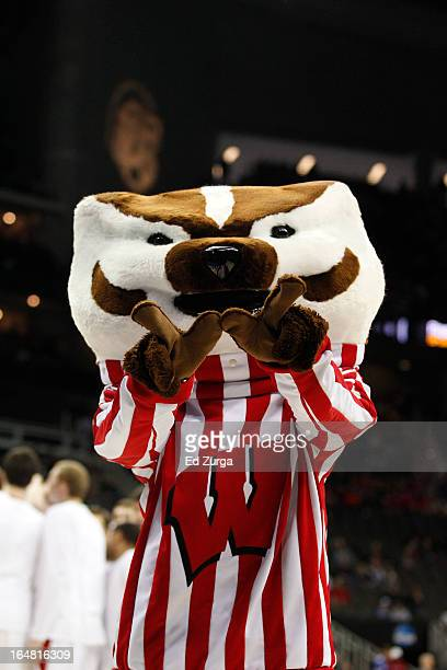 Bucky Badger the Wisconsin Badgers' mascot performs during the second round of the 2013 NCAA Men's Basketball Tournament at the Sprint Center on...