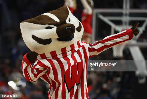 Bucky Badger the Wisconsin Badgers mascot performs in the first half against the Virginia Tech Hokies during the first round of the 2017 NCAA Men's...